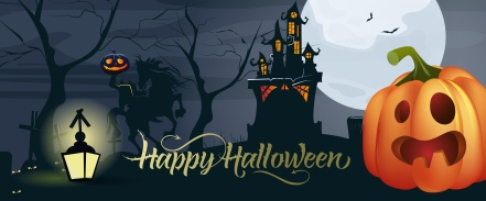 Happy Halloween lettering with pumpkin, moon and castle